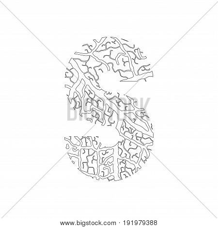 Nature Alphabet, Ecology Decorative Font. Capital Letter S Filled With Leaf Veins Pattern Black On W