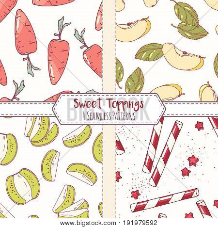 Set of hand drawn seamless patterns with carrot, apple, kiwi and cocktail straw. Sweet toppings backgrounds. Vector illustration
