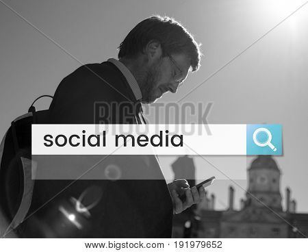 Social Media Network Online Community Search Box Magnifying Glass Graphic