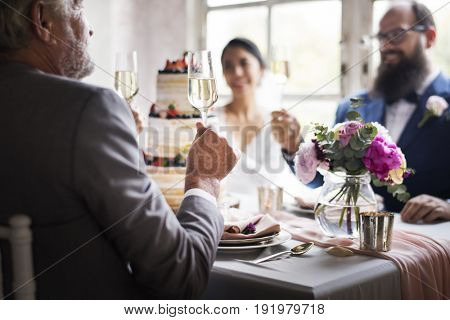 Newlywed Couple Cheerful Wedding Reception
