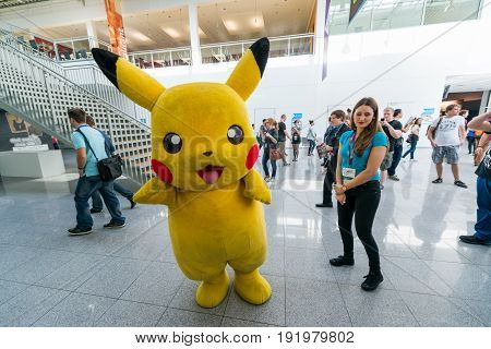 Cologne, Germany, August 13, 2014: Pikachu Pokemon on gamescon. Gamescom is a trade fair for video games held annually at the Koelnmesse in Cologne.