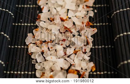 Spa Dead Sea salt for the bath along with dried flowers.