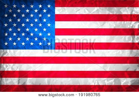 American Grunge Flag. Grunge For A Background Of A Poster. Vector Usa Independence Day