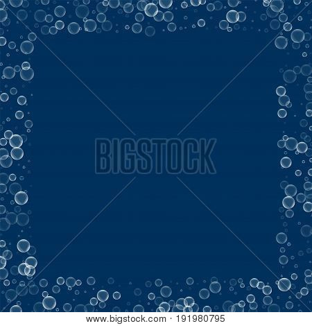 Soap Bubbles. Square Scattered Border With Soap Bubbles On Deep Blue Background. Vector Illustration