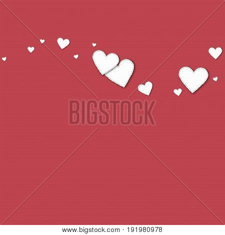 Cutout White Paper Hearts. Top Wave With Cutout White Paper Hearts On Crimson Background. Vector Ill