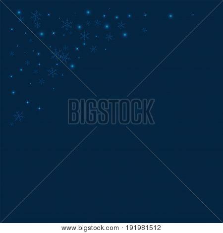 Sparse Glowing Snow. Top Left Corner On Deep Blue Background. Vector Illustration.