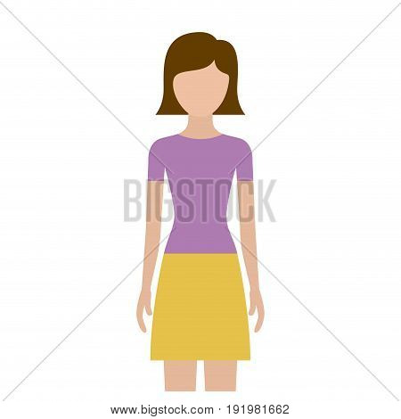 colorful silhouette faceless front view woman with skirt and short straight hairstyle vector illustration