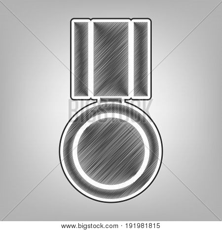 Medal sign illustration. Vector. Pencil sketch imitation. Dark gray scribble icon with dark gray outer contour at gray background.