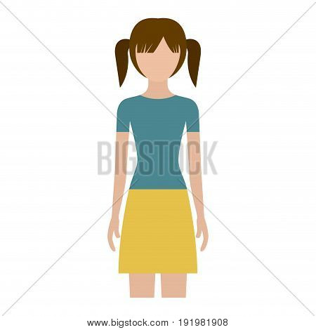 colorful silhouette faceless front view girl with skirt and tall pigtails hairstyle vector illustration
