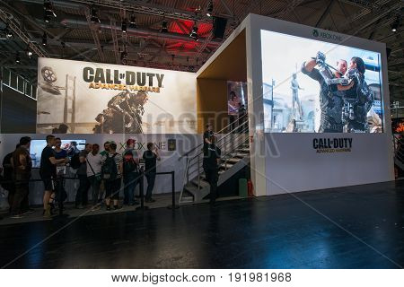 Cologne, Germany, August 13, 2014: Call of duty advanced warfare on gamescon. Gamescom is a trade fair for video games held annually at the Koelnmesse in Cologne.
