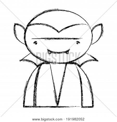 figure man vampiere with fangs and cape vector illustration