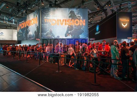 Cologne, Germany, August 13, 2014: Tom Clancy's the division on gamescon. Gamescom is a trade fair for video games held annually at the Koelnmesse in Cologne.