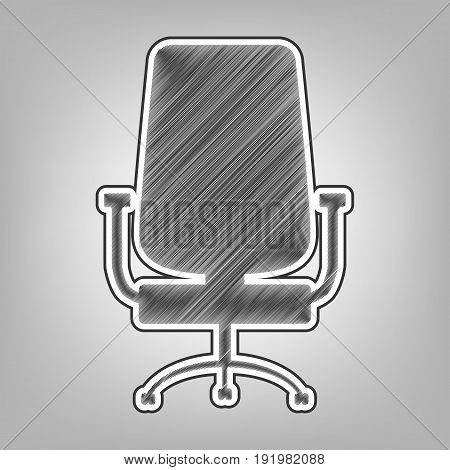 Office chair sign. Vector. Pencil sketch imitation. Dark gray scribble icon with dark gray outer contour at gray background.