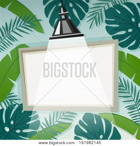 Vector background with empty frame or flip chart illuminated by lamp and tropical palm leaves. Summer concept, empty space for displaying your text.