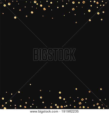 Sparse Gold Confetti. Borders On Black Background. Vector Illustration.