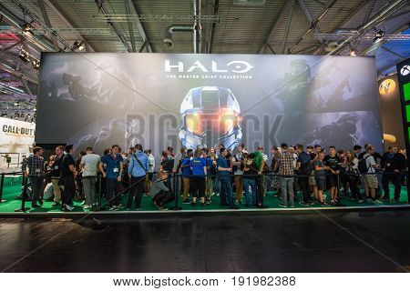 Cologne, Germany, August 13, 2014: Halo the masterchief collection on gamescon. Gamescom is a trade fair for video games held annually at the Koelnmesse in Cologne.