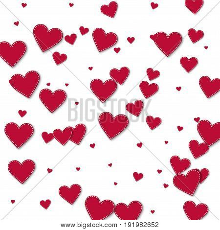 Red Stitched Paper Hearts. Chaotic Scatter Lines With Red Stitched Paper Hearts On White Background.