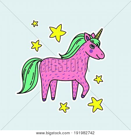 Cute handdrawn unicorn. Pink unicorn with stars. Vector illustration perfect for stickers and badges.