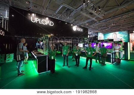 Cologne, Germany, August 13, 2014: Microsoft xbox one pavilion on gamescon. Gamescom is a trade fair for video games held annually at the Koelnmesse in Cologne.