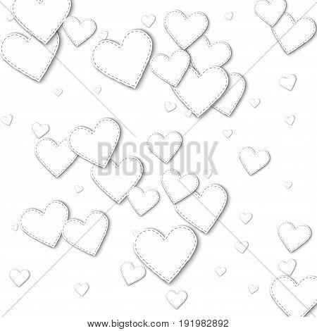Random White Paper Hearts. Scattered Pattern With Random White Paper Hearts On White Background. Vec