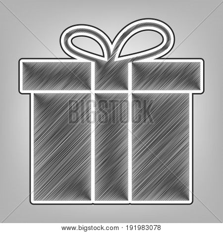 Gift box sign. Vector. Pencil sketch imitation. Dark gray scribble icon with dark gray outer contour at gray background.