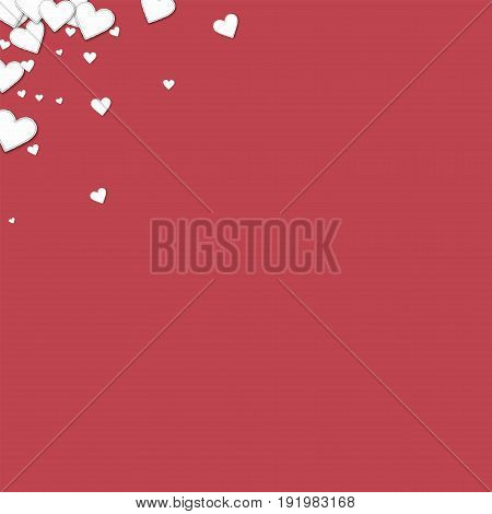 Beautiful Paper Hearts. Left Right Corner On Crimson Background. Vector Illustration.