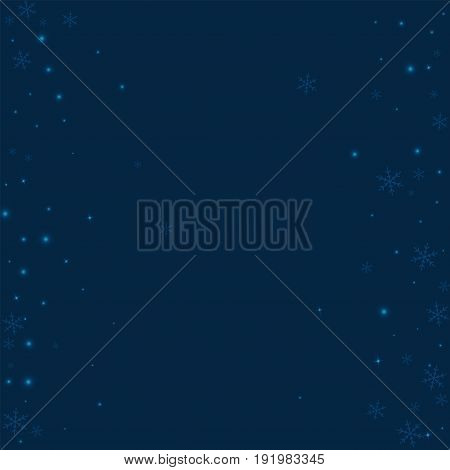 Sparse Glowing Snow. Scattered Frame On Deep Blue Background. Vector Illustration.