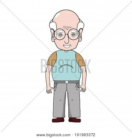 old man with hairstyle and casual clothes vector illustration