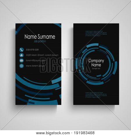 Dark business card with abstract technical blue round vector eps 10