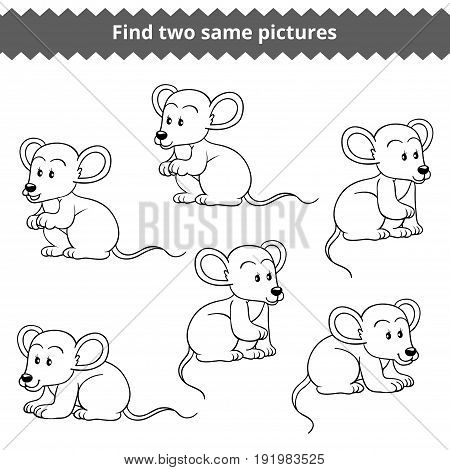 Find two identical pictures, education game for children, vector set of mice