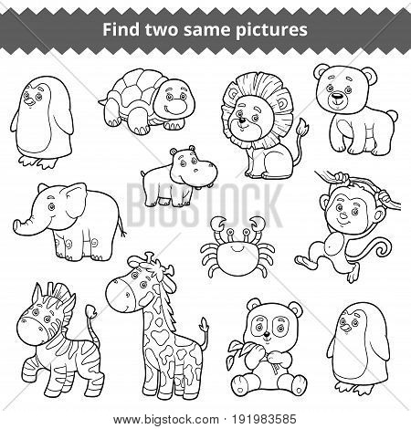 Find two identical pictures, education game for children, vector set of zoo animals