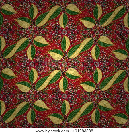 Vector illustration of leaves. Seamless pattern with leaves on motley background.