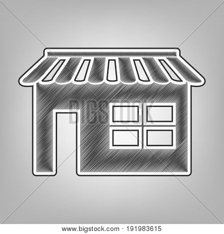 Store sign illustration. Vector. Pencil sketch imitation. Dark gray scribble icon with dark gray outer contour at gray background.