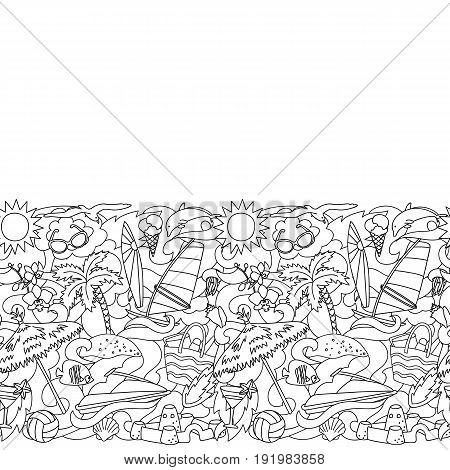 Seamless border with hand drawn doodle summer and beach elements. Black and white seamless pattern for textile prints, coloring pages, backgrounds.