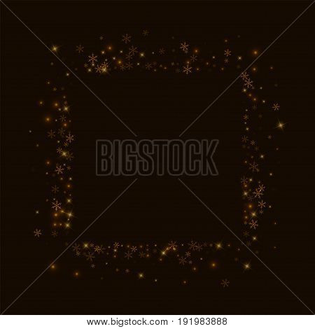 Beautiful Starry Snow. Square Abstract Mess On Black Background. Vector Illustration.