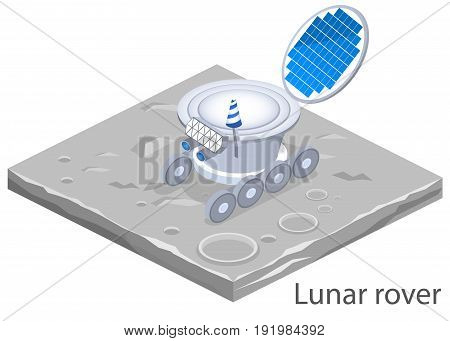 Isometric Flat 3D Isolated Concept Vector Lunar Rover