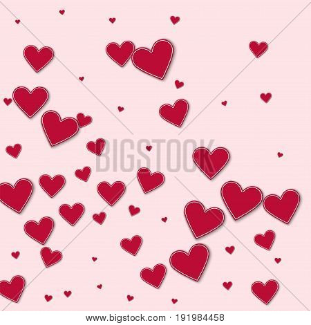 Cutout Red Paper Hearts. Abstract Mess On Light Pink Background. Vector Illustration.