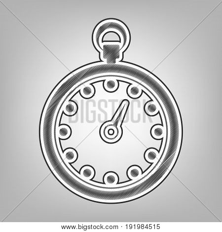 Stopwatch sign illustration. Vector. Pencil sketch imitation. Dark gray scribble icon with dark gray outer contour at gray background.