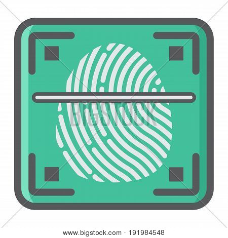 Fingerprint scanner colorful line icon, id and security, vector graphics, a filled pattern on a white background, eps 10.