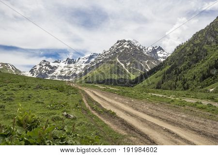 Mountain landscape, the road in the picturesque mountain gorge, travel across the North Caucasus