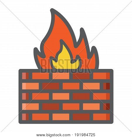 Firewall colorful line icon, security and brick wall, vector graphics, a filled pattern on a white background, eps 10.