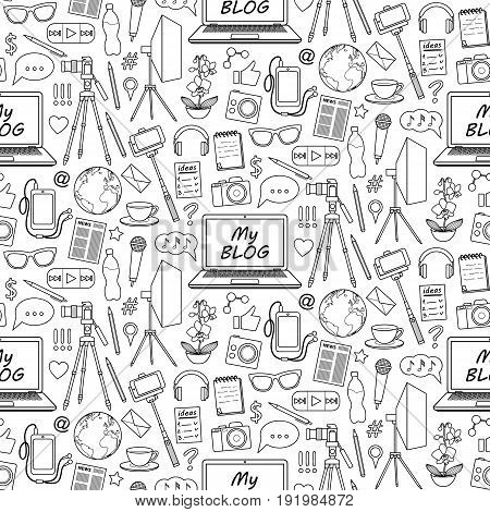 My Blog object seamless pattern. Vector wallpaper with blogging elements for covers, web banners, coloring books.