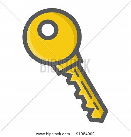 Key colorful line icon, security and password, vector graphics, a filled pattern on a white background, eps 10.