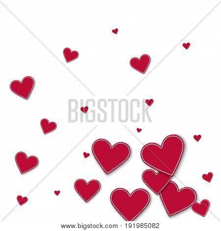 Random Red Paper Hearts. Bottom Gradient On White Background. Vector Illustration.