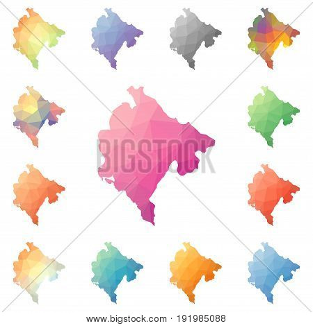 Montenegro Geometric Polygonal, Mosaic Style Maps Collection. Bright Abstract Tessellation, Low Poly