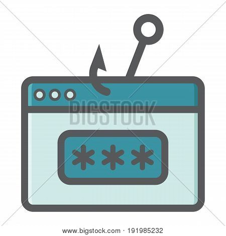 Password phishing colorful line icon, security and hack, vector graphics, a filled pattern on a white background, eps 10.