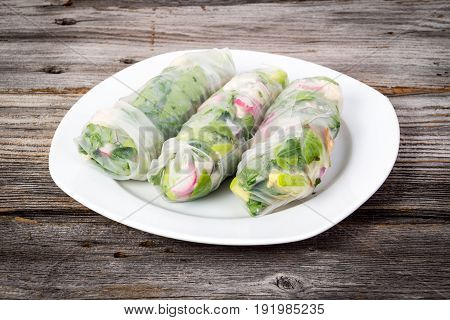 fresh healthy chicken and vegetable spring roll wrap
