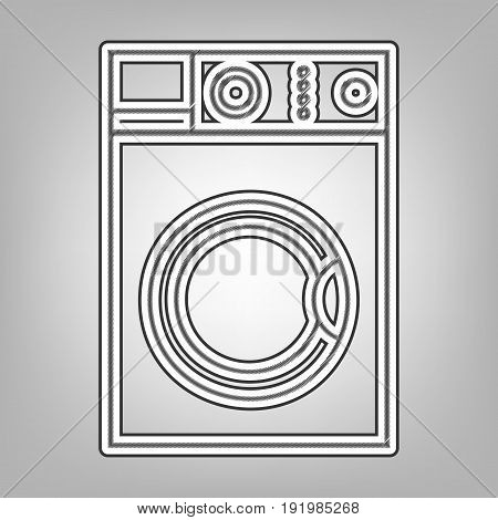 Washing machine sign. Vector. Pencil sketch imitation. Dark gray scribble icon with dark gray outer contour at gray background.