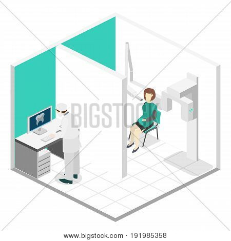 Isometric Flat 3D Isolated Vector Cutaway Interior Oral Radiology