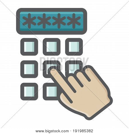 Hand finger entering pin code colorful icon, unlock and password, vector graphics, a filled pattern on a white background, eps 10.